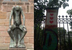 Collage aus zwei Bildern. Links Skulptur mir hängenden Kopf, rechts drei Herzen an einer Mauer. (Frustration)